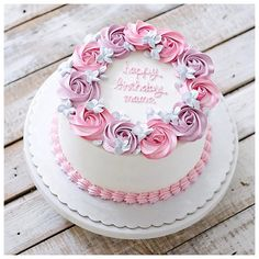 Birthday cake with name simple 48 ideas Birthday Cakes For Women, Birthday Cake Girls, Birthday Cupcakes, Fun Cupcakes, Cupcake Cakes, Bithday Cake, Birthday Cake With Flowers, Cake Name, Birthday Cake Decorating