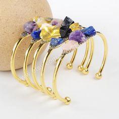 1 Pcs Handcuff Gold Plated Rainbow Stone Bangle Bracelet Amethyst Lapis Lazuli Quartz Natural Jasper Gemstone Handmade Fashion Jewelry G1022 by Druzyworld on Etsy