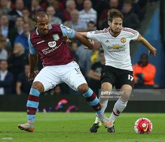 Daley Blind of Manchester United competes with Gabriel Agbonlahor of Aston Villa during the match
