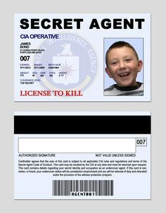 Secret agent ID change this to license to learn...could be turned into a cursive license.