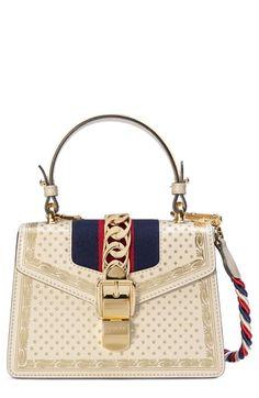 a856df9f13a Gucci Mini Sylvie Moon   Stars Leather Shoulder Bag