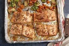 Listen to the call of the ocean with our One-Pan Roasted Salmon and Squash! This roasted salmon recipe features butternut squash and Brussels sprouts. Salmon Recipes, Fish Recipes, Seafood Recipes, Low Carb Recipes, Dinner Recipes, Cooking Recipes, Healthy Recipes, Budget Recipes, Entree Recipes