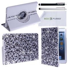 iPad Mini Case Bundle including 1 Rotating Leather Case with Rhinestones / 2 Stylus Pens / 2 Screen Protectors / 1 ECO-FUSED Microfiber Cleaning Cloth - Sparkling Bling Detail, A Perfeect Case for Girls (Grey) ECO-FUSED®,http://www.amazon.com/dp/B00AX2DUNE/ref=cm_sw_r_pi_dp_j3hPsb19V41G7GTS
