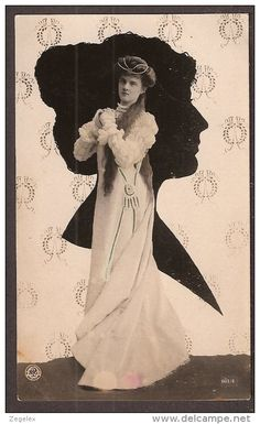1906 - Silhouette et jolie femme, strange combination of silhouette and photo