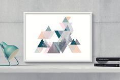 Printable TrianglesGeometric Print by HappyartWorkshop on Etsy