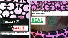 Fake and real labels in copycat counterfeit and authentic dresses.