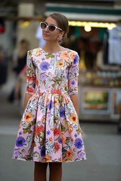 Patrón y costura : vestido corte a la cintura y manga francesa-tema 87