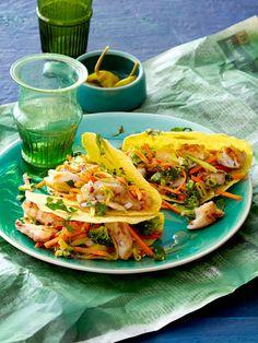 Tacos mit Seelachs und Möhren-Brokkoli-Salat