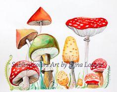 Mushroom original watercolor wall art