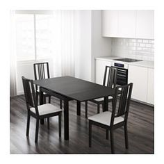 IKEA - BJURSTA, Extendable table, Two pull-out leaves included.Dining table with 2 pull-out leaves seats 4; makes it possible to adjust the table size according to need.Extra pull-out leaves give you a practical utility surface and are stored within easy reach under the table top.The clear-lacquered surface is easy to wipe clean.