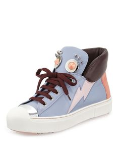 Fendi Faces Studded Leather High-Top Sneakers Size 36.5 Purple Retail $995