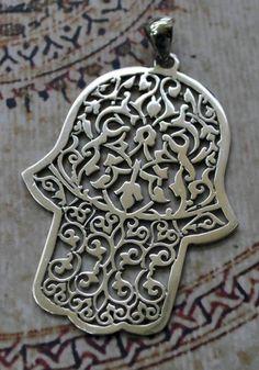 Khamsa, Hamsa, Hand of Fatima sterling Silver Pendant Hamsa Jewelry, Tribal Jewelry, Hand Der Fatima, Hamsa Art, Arte Judaica, Paisley, Evil Eye, Sterling Silver Pendants, Jewelery