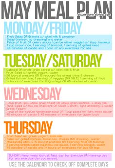 May Meal Plan and exercise guide-starting on Tuesday!
