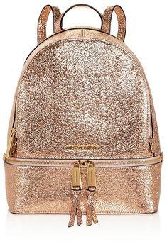 6b8030a216df MICHAEL Michael Kors Rhea Zip Metallic Medium Leather Backpack - 100%  Exclusive Handbags - Bloomingdale's