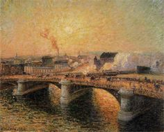 Camille Pissarro (Danish-French 1830– 1903) [Impressionism, Post-Impressionist] The Pont Boieldieu, Rouen, Sunset, 1896.