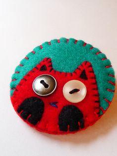 Clip Art Inspired Cat Design Handmade Felt Pin