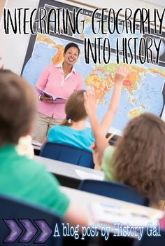 Find out some simple ways to integrate geography into your history class. There are some great tips as well as tools already prepared for you to make this even easier. (aka - less extra work AND better student understanding!) Great for the middle school o Teaching Us History, History Education, History Class, Education Quotes For Teachers, Teacher Blogs, Education College, Elementary Education, Classroom Teacher, Upper Elementary