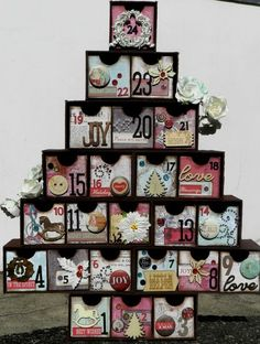 Advent Calendar by Solange Marques using our new Holiday Jubilee line! Christmas Countdown, Christmas Candy, Family Christmas, All Things Christmas, Holiday Fun, Christmas Time, Vintage Christmas, Christmas Crafts, Xmas