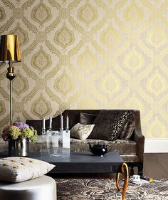 Zoraya Gold Damask Wallpaper from the Alhambra Collection by Brewster Home Fashions