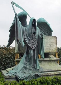 Would you want this next to your tombstone? Grim Reaper Cemetery Statue...