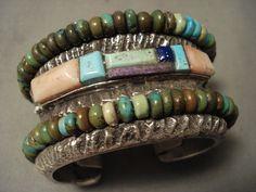237 grammes Navajo Opulent vert Turquoise argent Bracelet - Wow !
