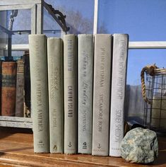 Green Books, Blue Books, Book Centerpieces, John Grisham, Modern Books, Green Home Decor, Anne Of Green Gables, Mantels, Cottage Chic