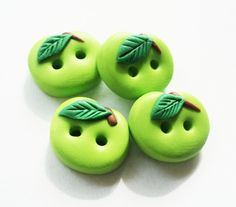 Green Apple polymer clay buttons