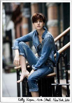 Fashion Tag, Denim Fashion, Look Fashion, Fashion Black, Girl Fashion, Fashion Design, Double Denim, Denim Look, Blue Denim