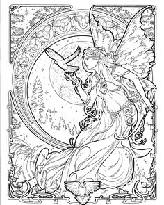 halloween coloring pages Printable Herb Leonhard coloring pages, Samples of 2 pages from our Faerie Nouveau coloring book. 1 printable Pdf version of 2 samp Fairy Coloring Pages, Printable Coloring Pages, Adult Coloring Pages, Coloring Books, Colorful Drawings, Colorful Pictures, Faeries, Illustration, Letter Size