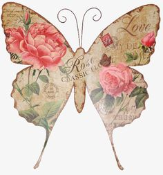 butterfly,retro,kraft,flowers,illustration,hand painted,cartoon,hand,painted,retro clipart,butterfly clipart