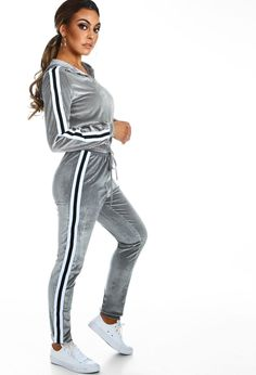 Get your Sunday slayin' on point with this amaze grey velvet tracksuit! In a super soft velour fabric, this grey tracksuit features monochrome stripe detail and consists of a hooded jacket and cuffed drawstring joggers. Team this grey lounge set with trai Velvet Tracksuit, Tracksuit Bottoms, Winter 2018 Fashion, Grey Lounge, Velour Fabric, Capsule Wardrobe, Hooded Jacket, Chill, Track Suits