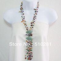 FREE SHIPPING Multistone Cascade Oval Thai Jade Tassel Necklace