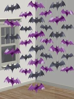 Hanging Bat Decorations for Halloween: These 6 suspending Halloween decorations include many black and pruple bats attached to a thin string. Each hanging decoration is approximately long. Scare friends and family with. Diy Halloween, Halloween Fright Night, Halloween Infantil, Halloween Bat Decorations, Adornos Halloween, Halloween Window, Fairy Halloween Costumes, Halloween Party Supplies, Halloween Haunted Houses