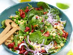 Smashed chickpea, semi-dried tomato and spinach salad, vegetables recipe, brought to you by Good Food