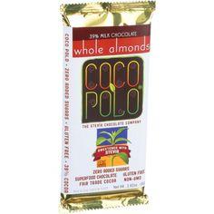 Coco Polo - 1192038 - Chocolate Bar - 39 Percent Milk Almond - Case of 10 - 2.82 oz Bars