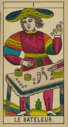 The Magician Card from the Tarot de Marseille (Red cloak, snakes in the solr hat symbol, gobelets, dice, knifes (opening of the mouth) items on his table.