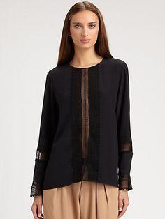 Gorgeous Chloé - Lace-Trimmed Silk Blouse - Saks.com