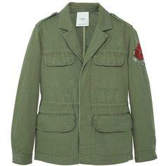 Pocket Linen-Blend Jacket ($150) ❤ liked on Polyvore featuring outerwear, jackets, flap jacket, green jacket, embroidered jacket, embellished jacket and mango jackets