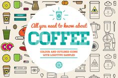 Awesome Coffee Icons and Logo Set by Ckybe's Corner on @creativemarket