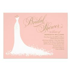 Bridal Shower Invitations | Elegant Wedding Gown in Blush Pink and Antique Gold Color Scheme