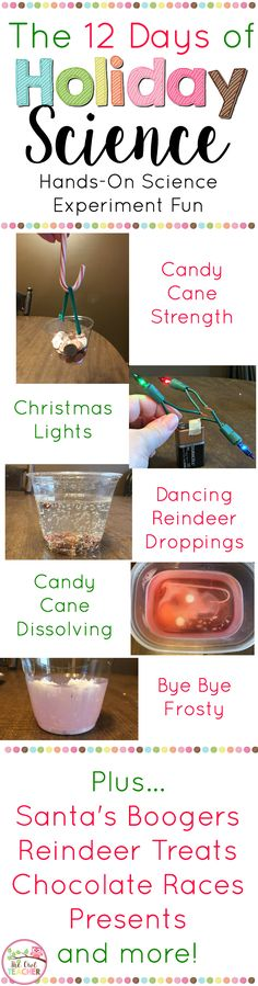 This is an engaging 12 Days of Christmas Science Labs perfect for your class to as you are leading up to the holiday break! This packet covers a variety of hands-on science activities that all relate to Christmas and the holidays!