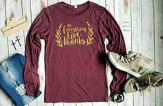 1 Thes- In Everything Give Thanks Top - Also in Plus Size In Everything Give Thanks, 18th, Thankful, Plus Size, T Shirts For Women, Boutique, Long Sleeve, Ranch, Gypsy
