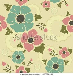 Seamless wall-paper nostalgic flowers, creamy background. Gentle flowers anemones in a retro style. A print for fabric, packing paper, wall-paper, cards, etc.