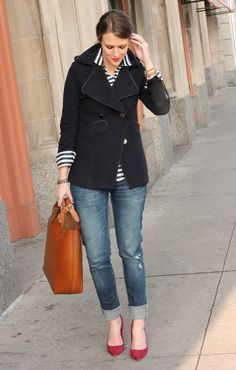 Leather bag + black trench + stripe top + jean capris + red pointy toed heels.