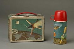 1950 space lunch box and flask