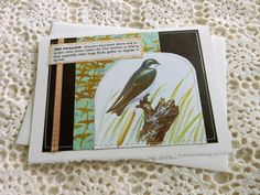 Tree Swallow  handmade sewn card by bluestemhandmade on Etsy, $5.00