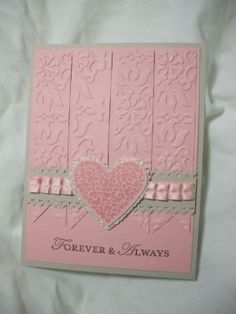 Nice way to use embossing folders - to remember for a layout.  Beautiful Card by Libby27 #stampin' up! card #loving thoughts stamp set #vintage wallpaper embossing folder