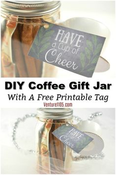 What do you get for someone that loves coffee? Make this easy DIY Coffee gift jar! It comes with a free printable gift tag perfect year round. Coffee Jars, Coffee Drinks, Nurse Appreciation Gifts, Free Printable Gift Tags, Coffee Type, Coffee Gifts, Jar Gifts, Last Minute Gifts, Easy Diy