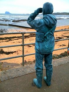 Looking out ot Bass Rock from North Berwick in Scotland
