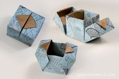 Origami Hinged Box VideoTutorial, Learn how to make a modular origami hinged box, using 3 pieces of square paper. A perfect gift box for jewellery! Origami Hinged Box Video Tutorial Learn how to make a modular origami hinged box with lids that open to the Origami Modular, Origami And Kirigami, Origami Paper, Diy Paper, Paper Crafting, Oragami, Paper Folding Crafts, Diy Origami Cards, Origami Fish